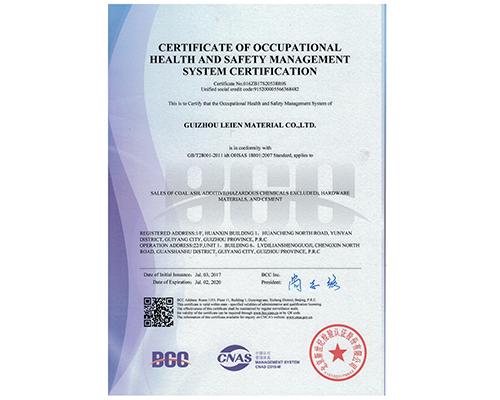 职业健康安全管理体系认证证书--英文版